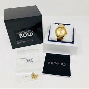 MOVADO BOLD CRYSTAL MARKER WATCH, 36MM GOLD